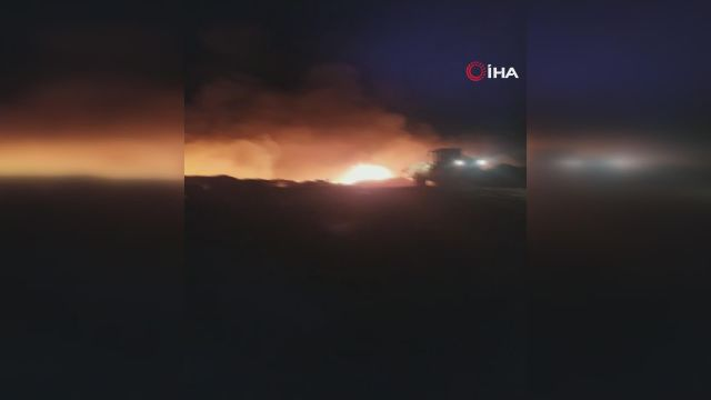 Ankara'da çöplükte meydana gelen patlama sonrası yangın çıktı