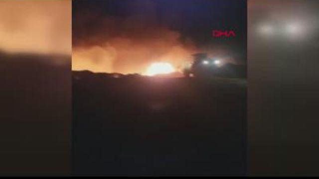Ankara'da çöplükte patlama sonrası yangın