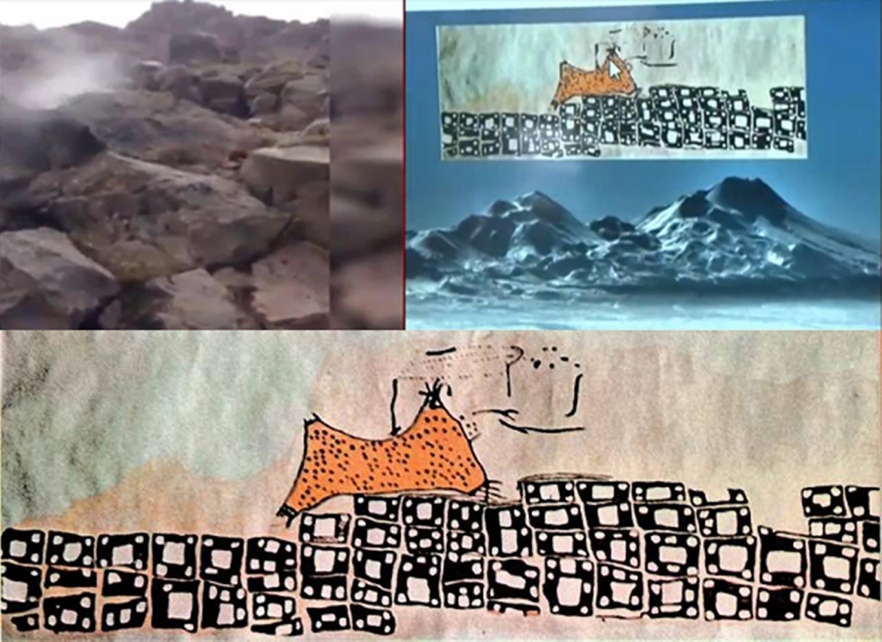çatalhöyük çizim volkan